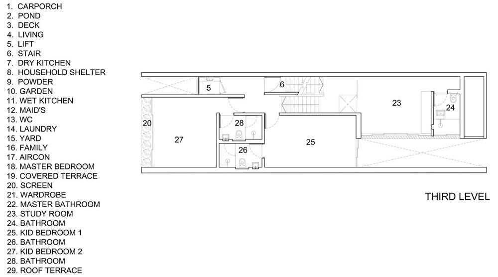 Plano del tercer nivel de la casa