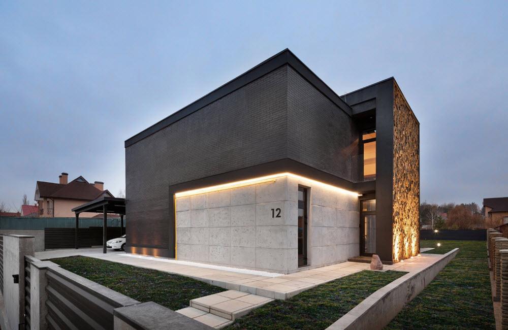 Dise o de casa moderna de dos pisos planos de arquitectura for Casa moderna ladrillo