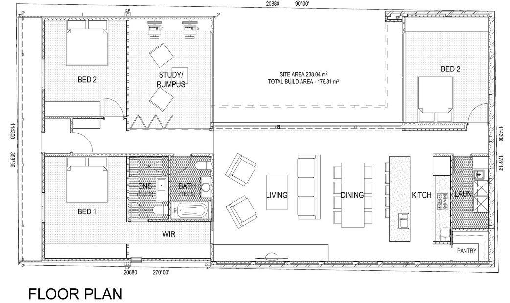 Casa De Un Piso Y Tres Dormitorios Planos De Arquitectura - Planos-de-pisos-de-3-dormitorios