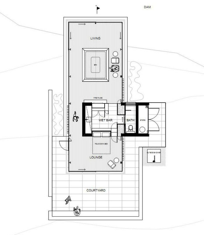 Plano de casa de campo pequeña de un nivel