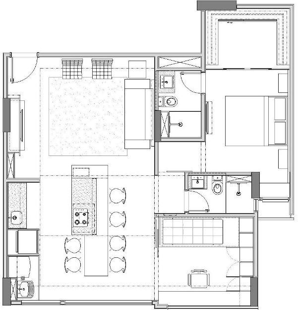 Dise o departamento peque o 70 m planos de arquitectura for Diseno de interiores departamento pequeno