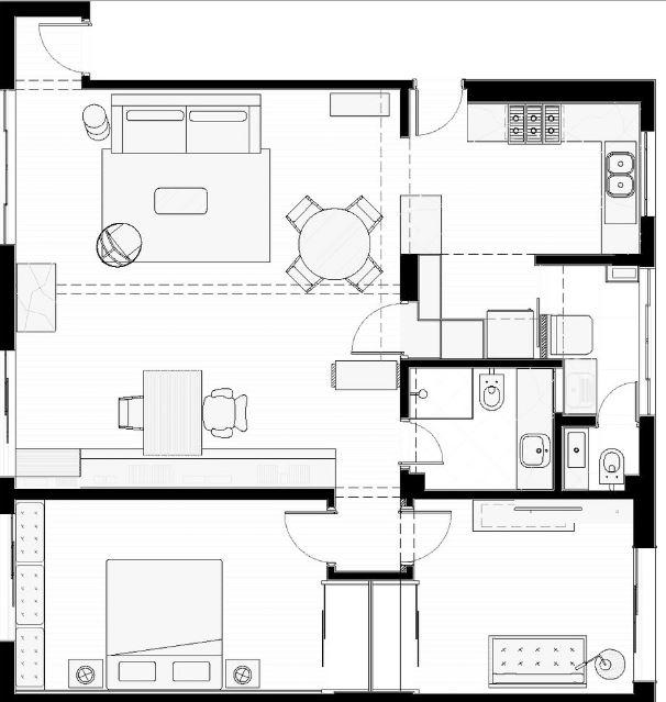 Dise o departamento 110 m planos de arquitectura for Departamentos pequenos planos
