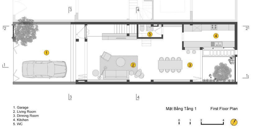 Primera planta de la casa de cuatro pisos en terreno pequeño