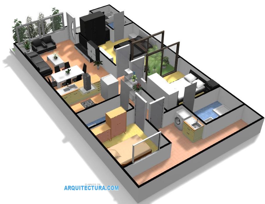 Planos de casa peque a de un piso ideas para construir en for Crear planos de casas 3d