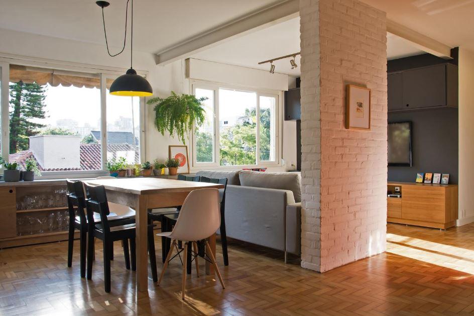Dise o de departamento de 106 metros cuadrados presenta for Diseno de interiores de salas y comedores pequenos