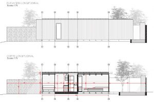 Corte y elevacion longitudinal de la hermosa casa
