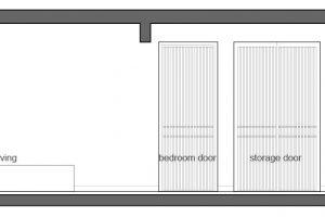 Corte longitudinal del pequeño departamento