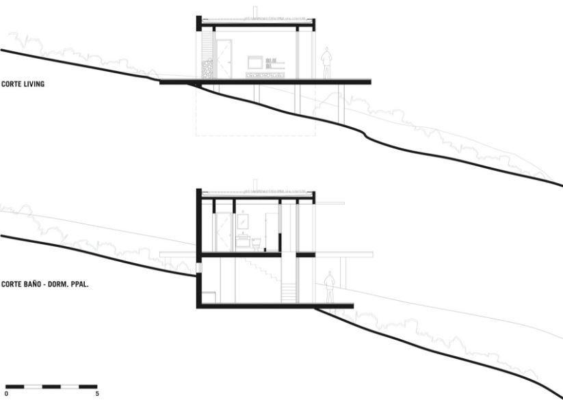 Planos y dise o interior de moderna casa de playa en for Diseno de interiores nota de corte