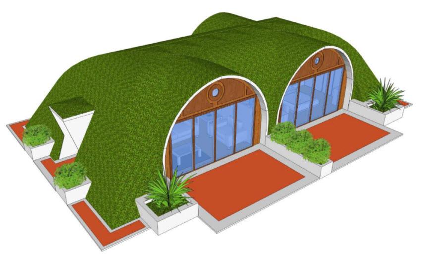 Diseño de casa ecológica integrada a la naturaleza