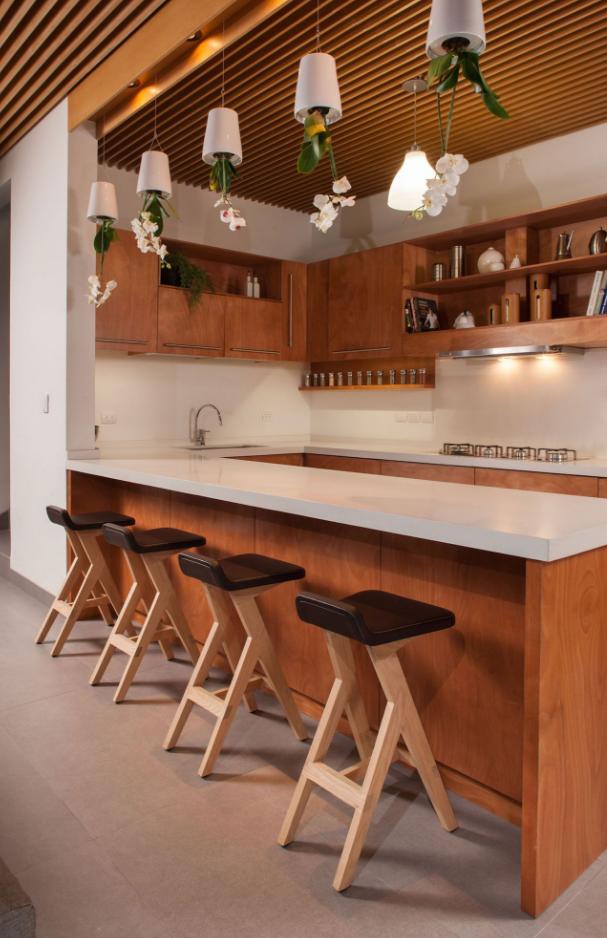 Moderna cocina isla en madera