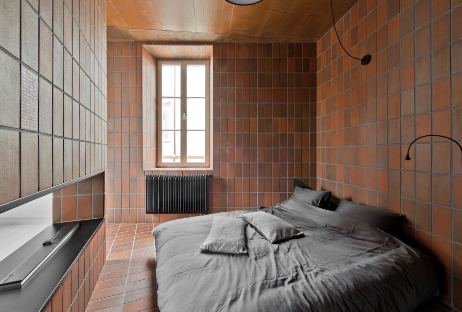 Moderno dormitorio del pequeño departamento