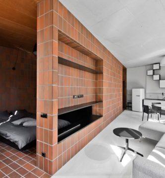 Modernos interiores del pequeño departamento