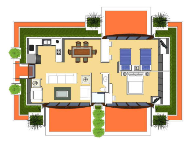 Plano 3D casa prefabricada de dos dormitorios