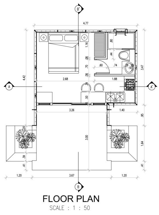 Plano casa un dormitorio prefabricada