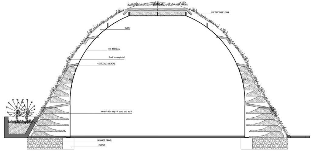 Plano de corte de sistema estructural casa abovedada prefabricada