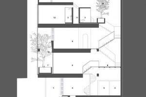 Plano del corte longitudinal de la casa