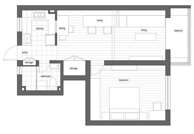 Dise o de peque o departamento de 50 metros cuadrados for Diseno de apartamento de una habitacion