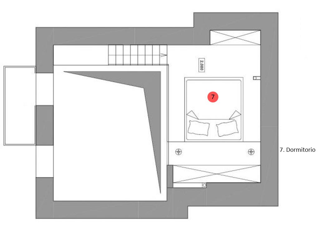 Plano del segundo nivel del departamento