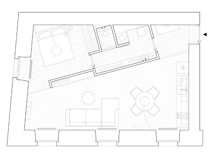 Plano principal del pequeño departamento
