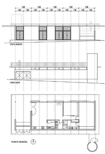 Planos de la pequeña casa de un piso dos dormitorios