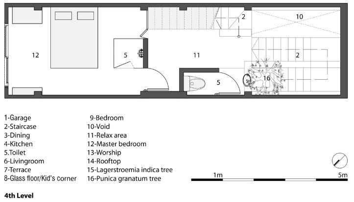 Planta del cuarto nivel de la pequeña casa