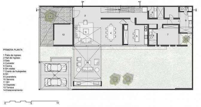 Planta del primer piso de la casa de ciudad