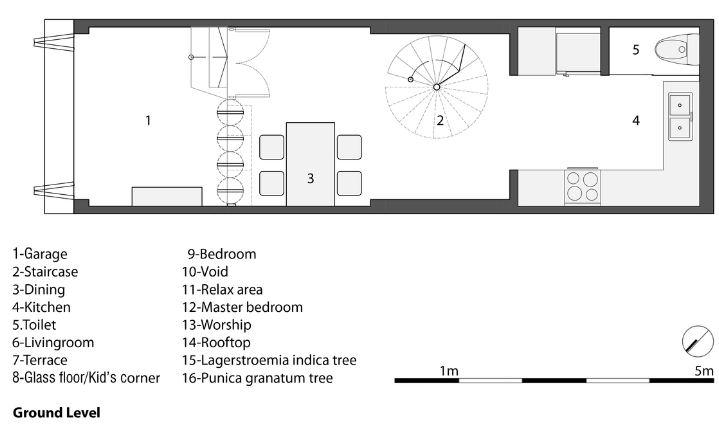 Planta del primer nivel de la pequeña casa