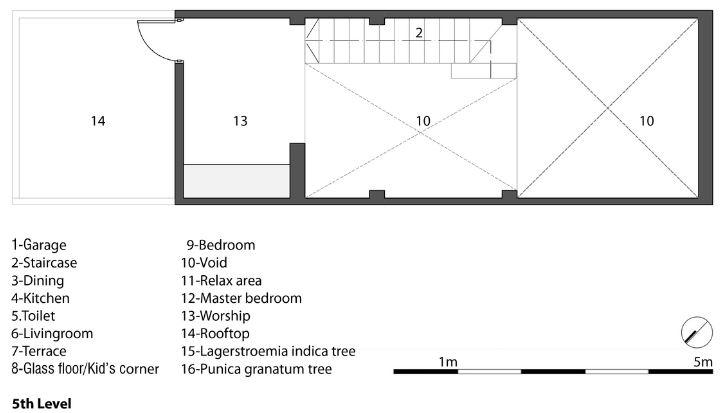 Planta del quinto nivel de la casa