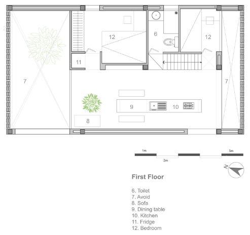 Planta del segundo nivel de la pequeña casa
