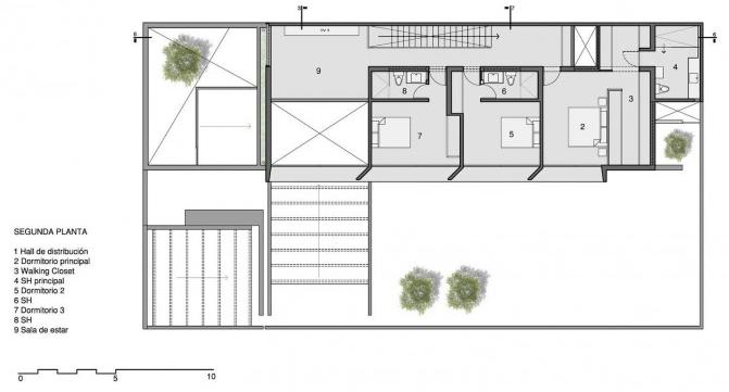 Planta del segundo piso de la casa de dos pisos