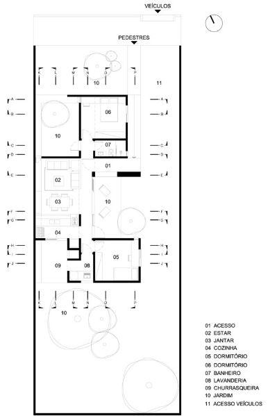 Planta principal de la pequeña casa de 74 metros cuadrados