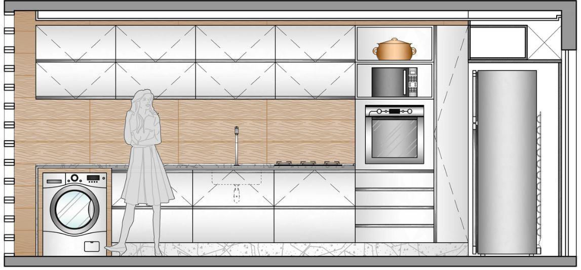 Dise o de peque o departamento de 65 metros cuadrados for Planos de cocina y lavanderia