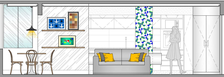 Dise o de peque o departamento de 65 metros cuadrados for Diseno de interiores nota de corte