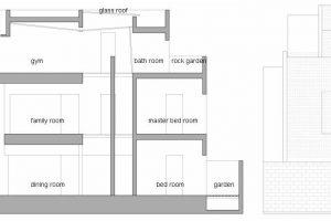 Corte longitudinal de la casa