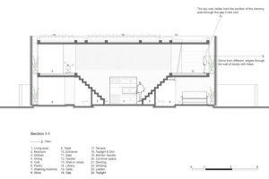 Corte longitudinal de la hermosa casa