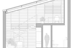 Corte transversal de la pequeña casa
