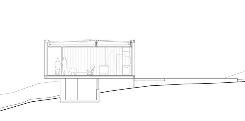Corte transversal de la pequeña vivienda