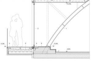 Detalle constructivo de techo curvo