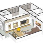 Diseño 3D del moderno departamento
