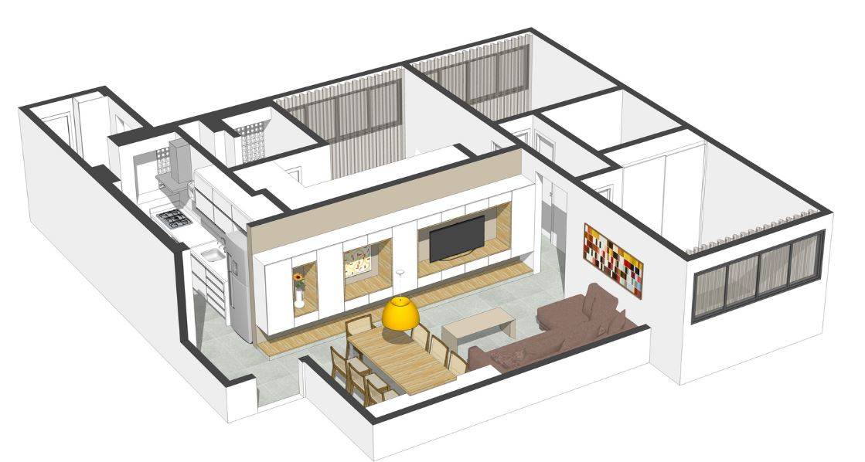 Plano de departamento de 80 metros cuadrados presenta for Diseno de apartamento de 4x8 mts