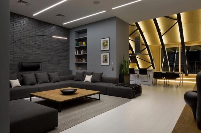 Dise o interior de moderno departamento planos de for Colores interiores de casa 2016