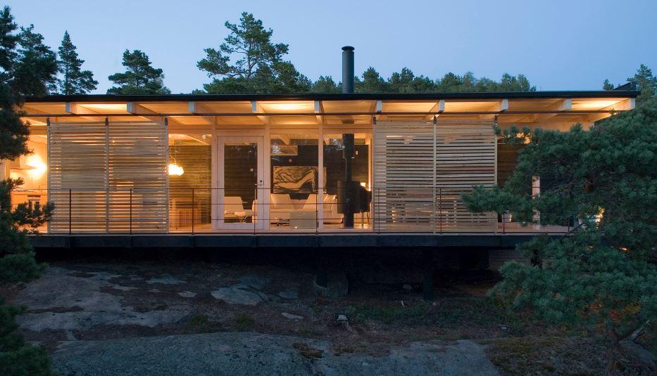 Dise o de hermosa casa de campo construcci n moderna con for Interior de la casa de madera moderna