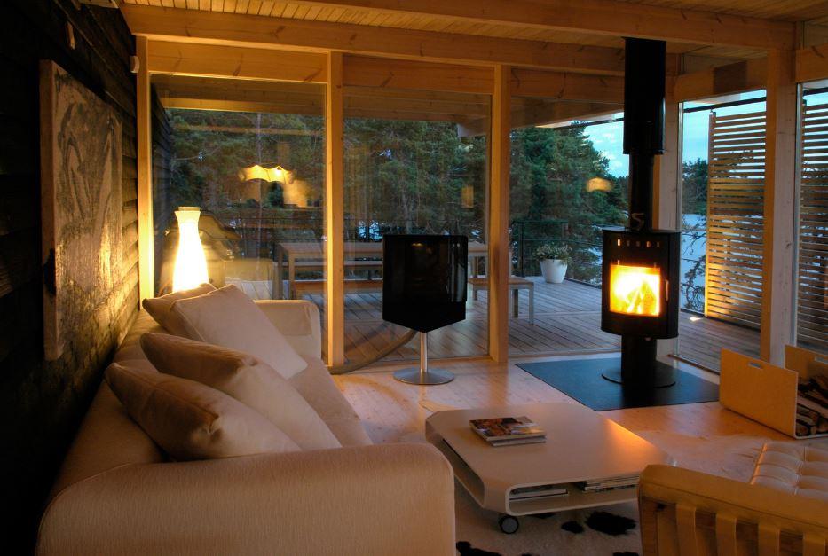 Dise o de hermosa casa de campo construcci n moderna con for Casas de campo interiores