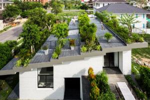 Moderna casa con techo verde