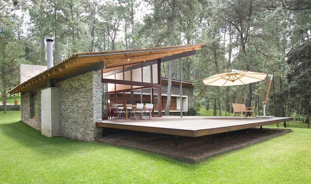 Dise o de casa de campo construccion moderna con for Diseno de casas de campo modernas