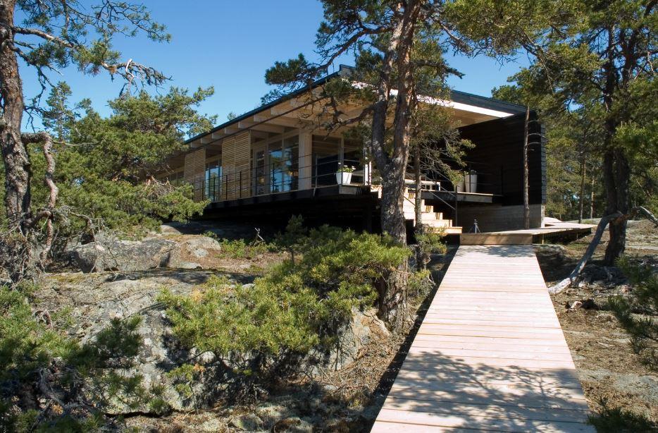 Dise o de hermosa casa de campo construcci n moderna con for Planos de casas de campo modernas
