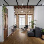Modernos interiores de casa de dos pisos