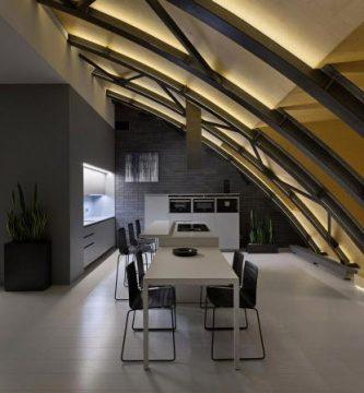 Moderno depapartamento con techo curvo