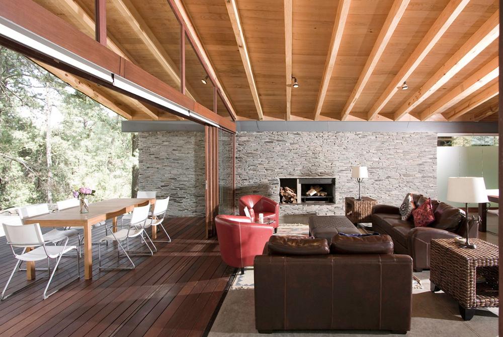 Dise o de casa de campo construccion moderna con estructura de madera acero y piedra rustica - Diseno casa de madera ...