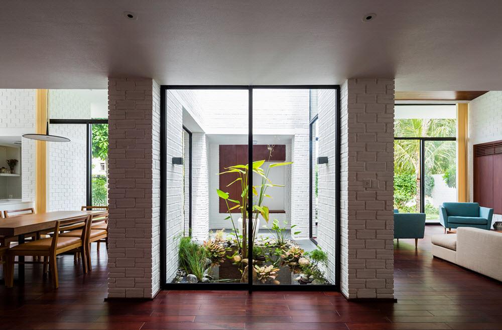 Planos de casa moderna de dos pisos con techo verde - Casas con jardin interior ...